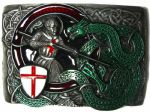 Celtic Saint George and the Dragon Belt Buckle with display stand. Code BM3
